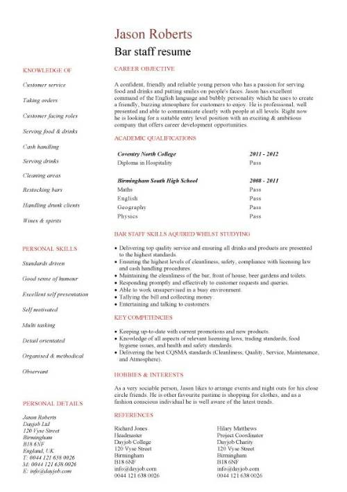 Student entry level Bar staff resume template