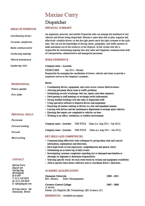 Dispatcher resume driver templates job description examples delivery key skills dispatching