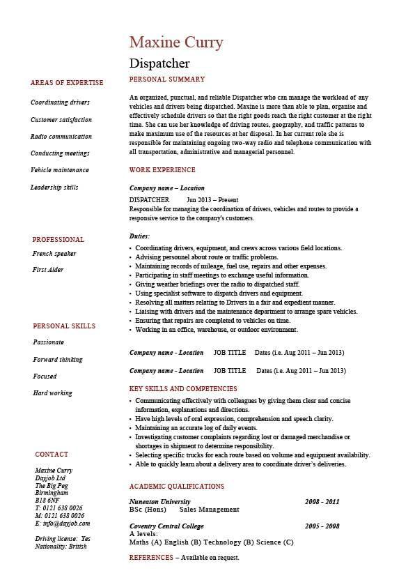 Dispatcher Resume Driver Templates Job Description