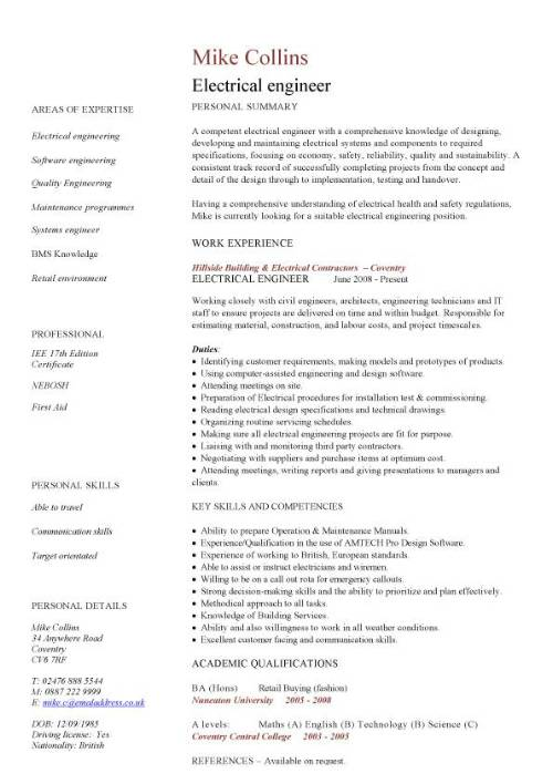 cv formats for engineers