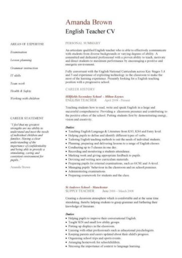cv design student english example