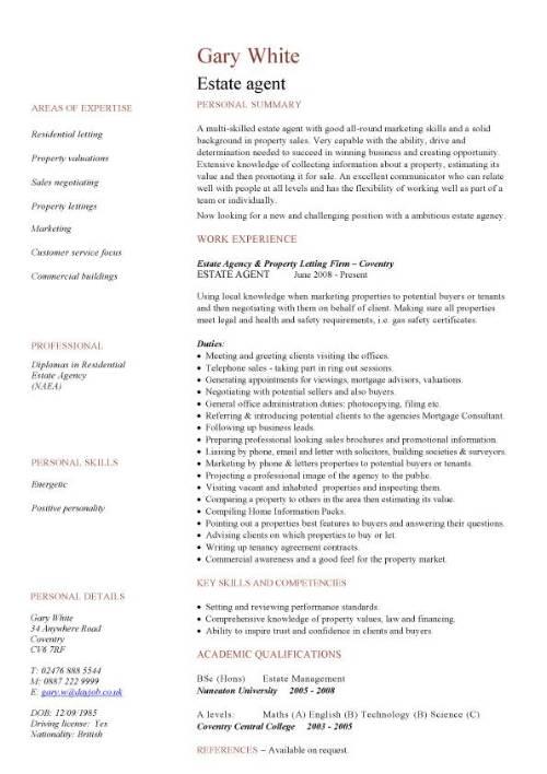 Estate Agent CV Sample Negotiation Marketing And Sales