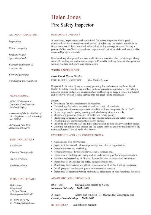Fire safety inspector CV sample CV example resume curriculum vitae fire risk evaluation