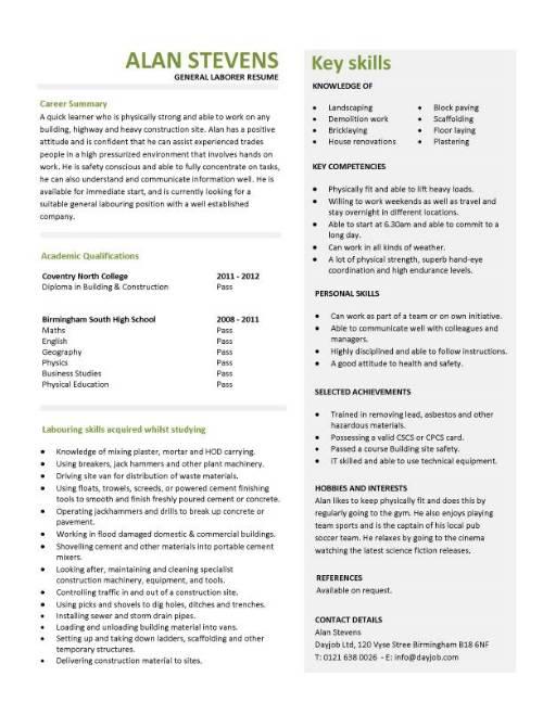 general worker resume template
