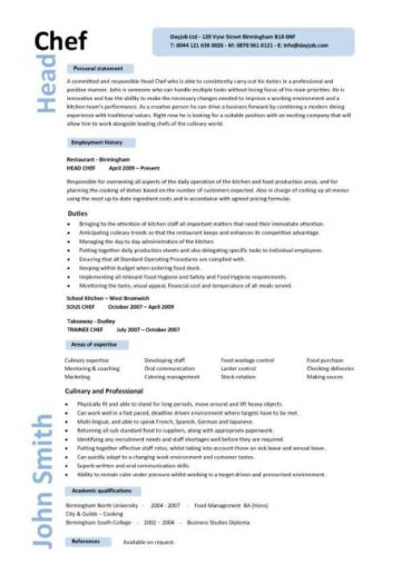 head chef resume cover letter