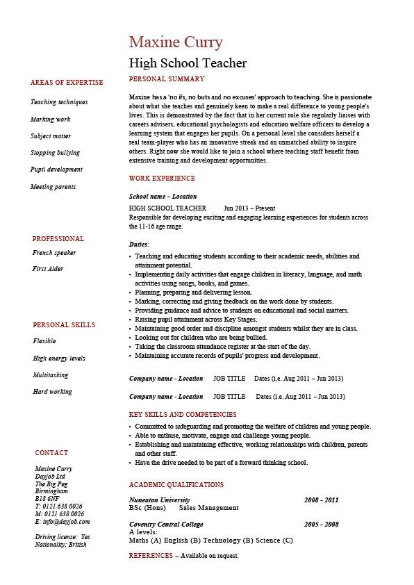 cv in english high school