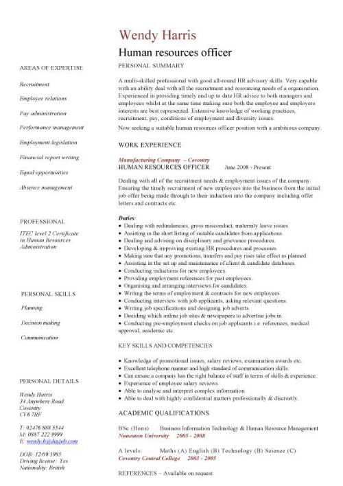 Human Resources Officer CV Sample