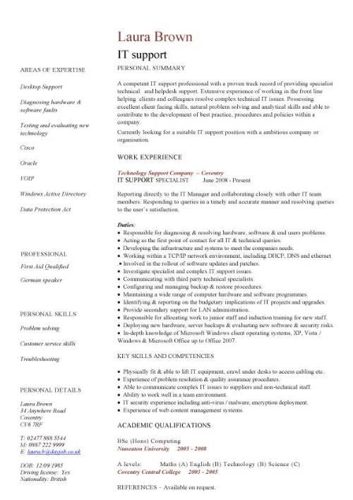 IT Support CV Sample Helpdesk Writing A Good CV Resume