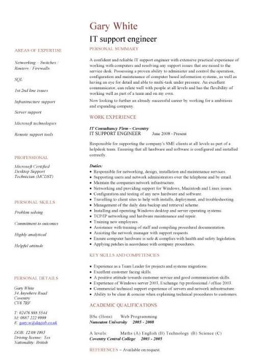 IT support engineer CV sample 1st line support job hunting technology jobs resume CVs