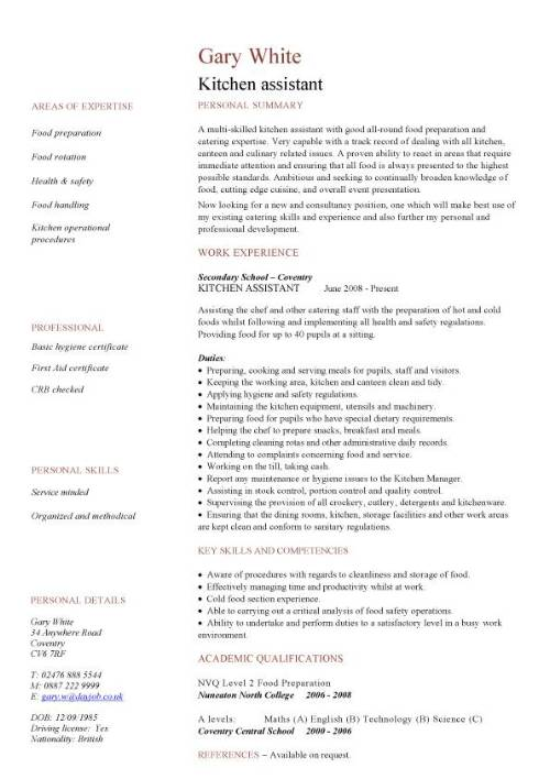 kitchen assistant resume examples