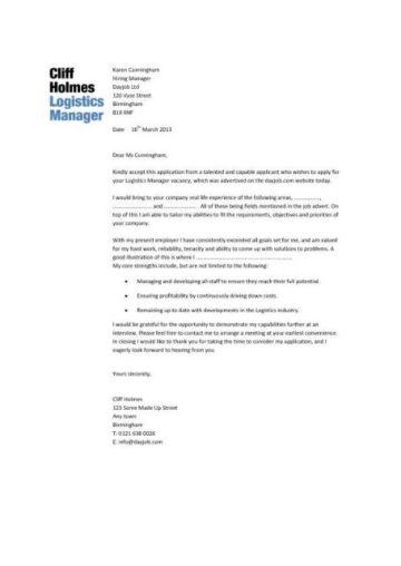 Logistics Manager Resume Templates CV Job Description