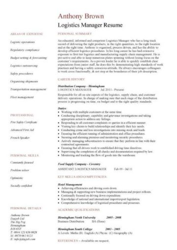 Logistics Manager CV Template Example Job Description