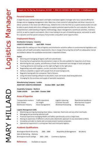 Logistics Manager CV Template Example Job Description