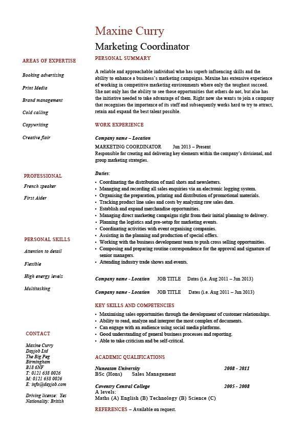 Marketing coordinator resume sales example sample advertising campaigns job description jobs