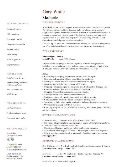 Mechanic CV sample