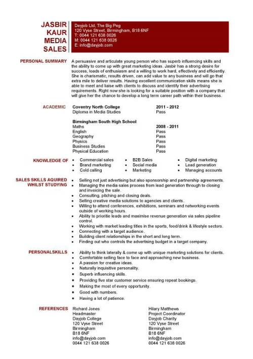 media and entertainment resume examples