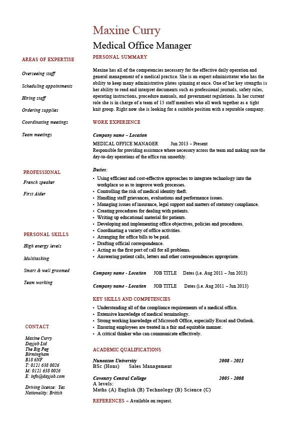 medical office supervisor resume sample
