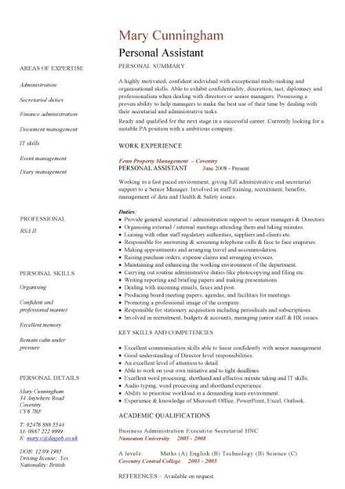 Personal Assistant CV Sample