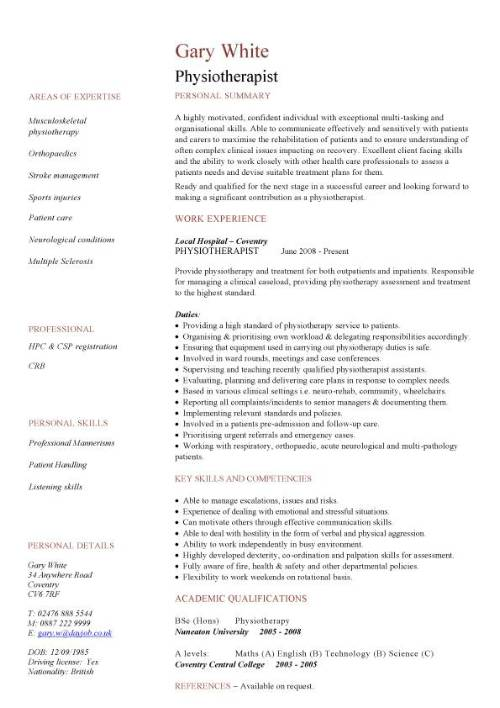 sample resume for physiotherapy jobs