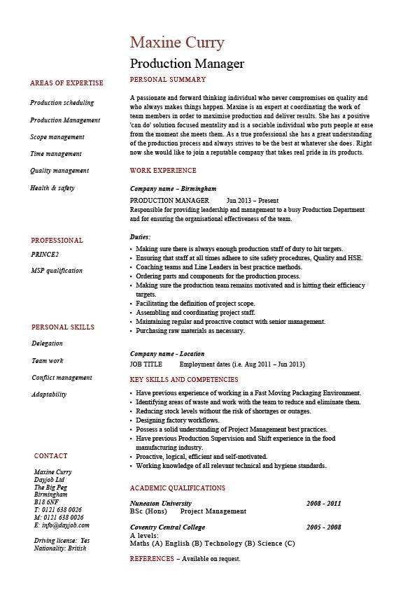 sample resume for production manager in india