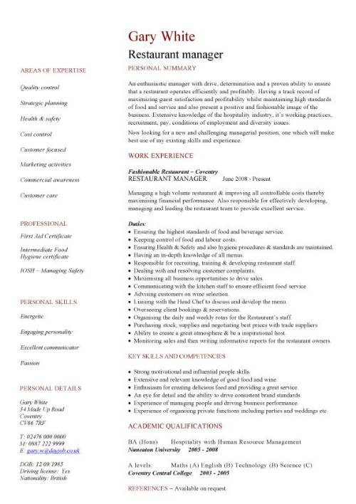 Restaurant Manager CV Sample