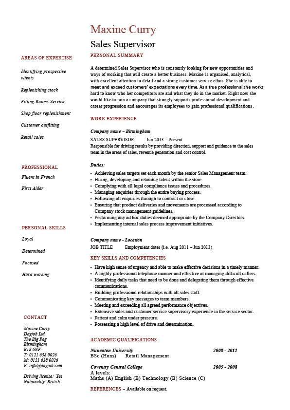 field supervisor resume sample