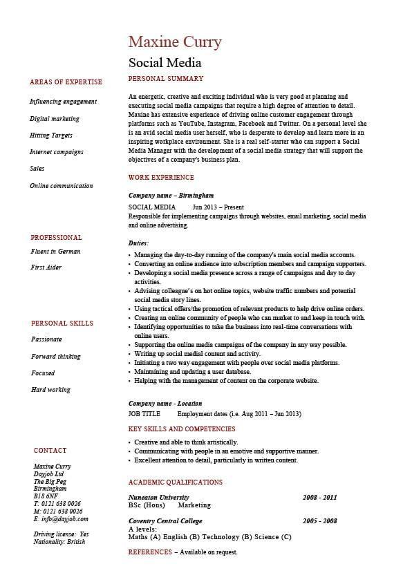 social media marketing resume summary