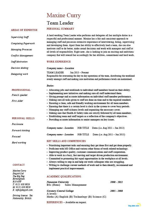 sample resume showing team leadership