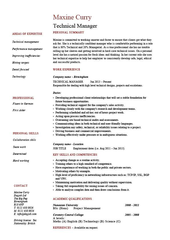 technical skills and competences examples cv