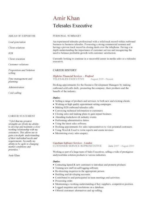 Telesales CV Sample