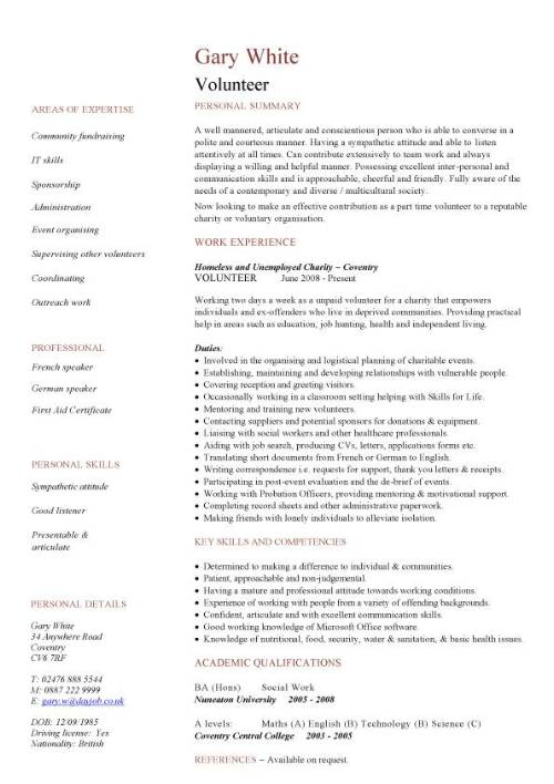 english cv fundraising template