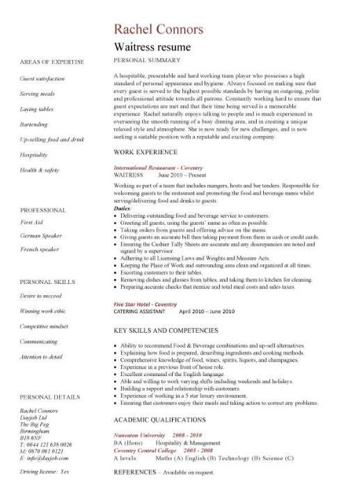 resume sample waitress experience