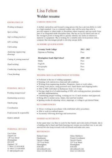 resume for welder