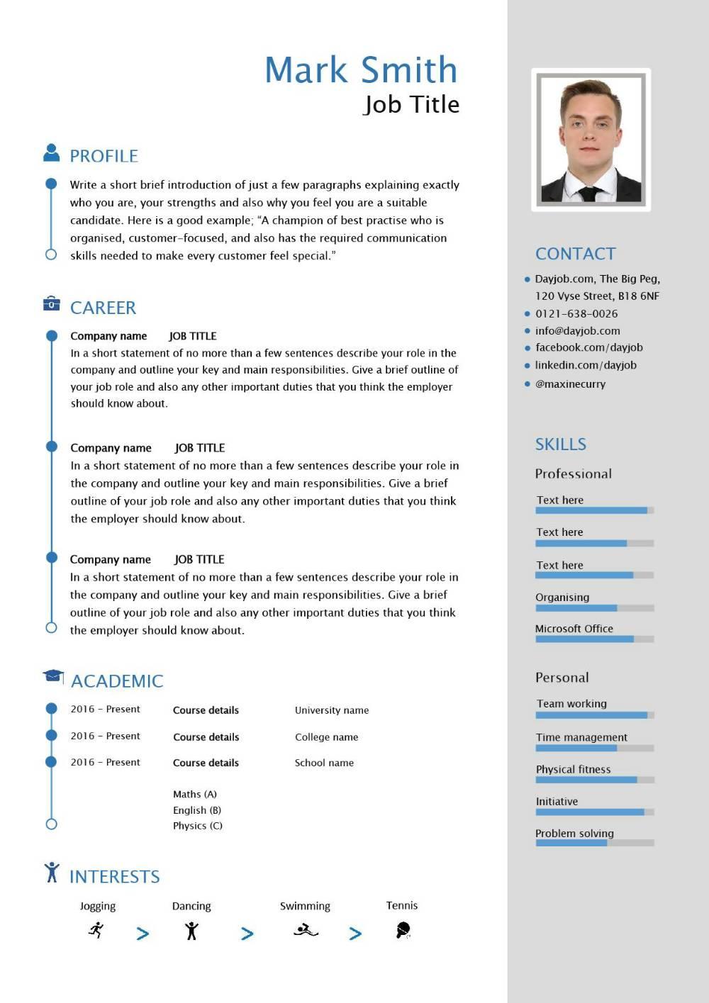 free modern cv template uk graduate