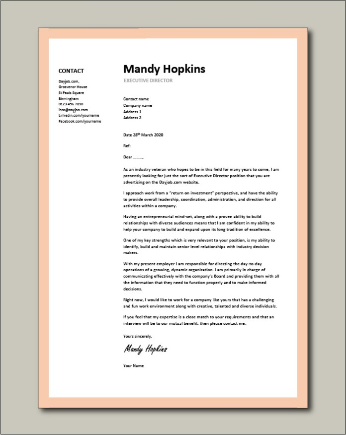 Executive Director Cover Letter 3 Sample Assistant Job Search Board Recruitment Agency Vacancy