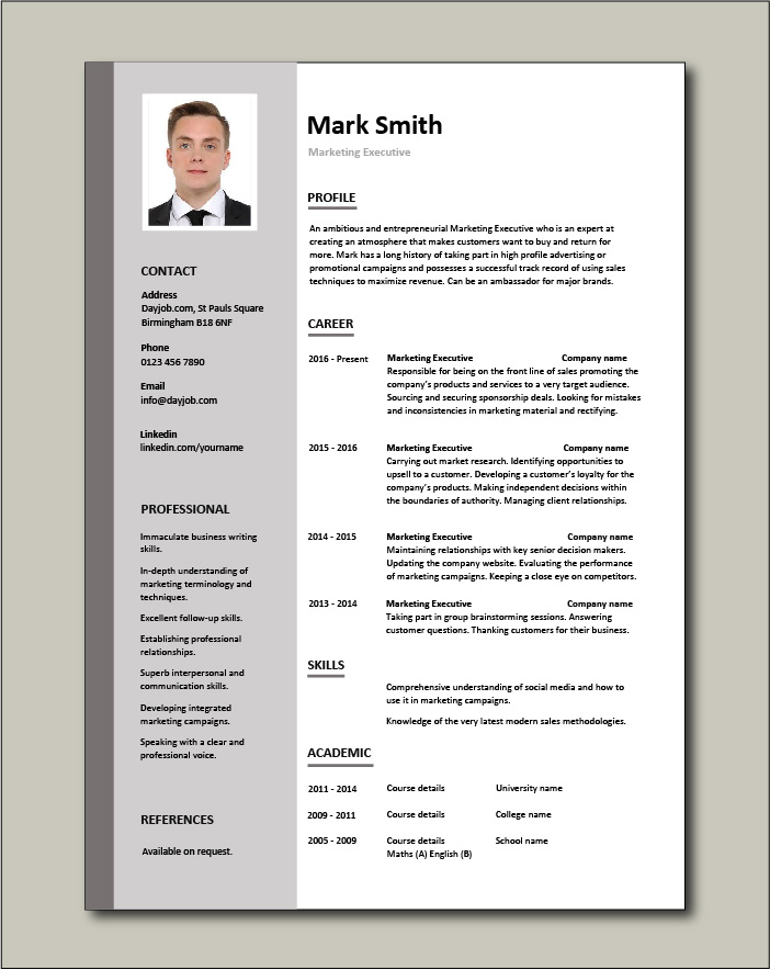 These free resume templates feature sample copy for 10 of the most popular marketing positions. Free Marketing Executive Resume Template 1
