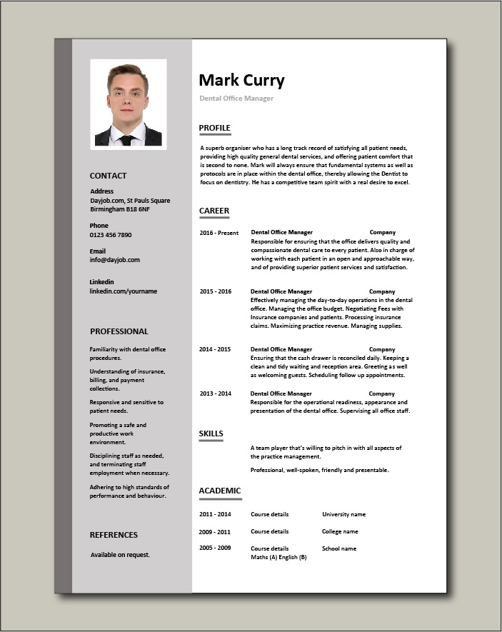 It's no secret that your resume shouldn't just be a list of old jobs—it needs to be visually appealing as well, within reason. Free Dental Office Manager Resume Template 1