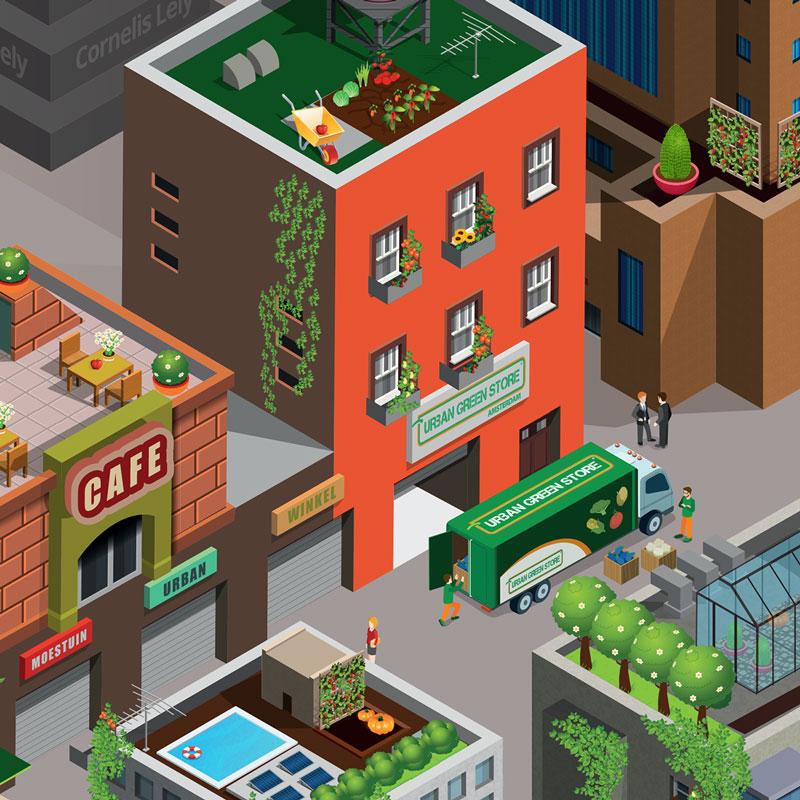 Urban Green Store isometrische stad in detail