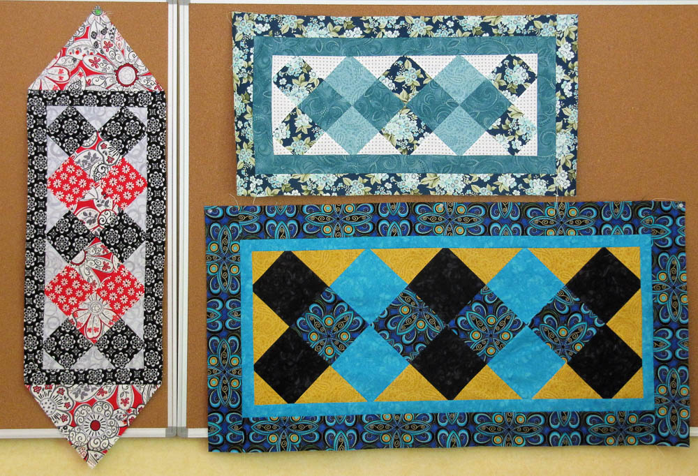 Squareagonals, great technique to put quilt blocks on point. Link to free table runner pattern in blog post.