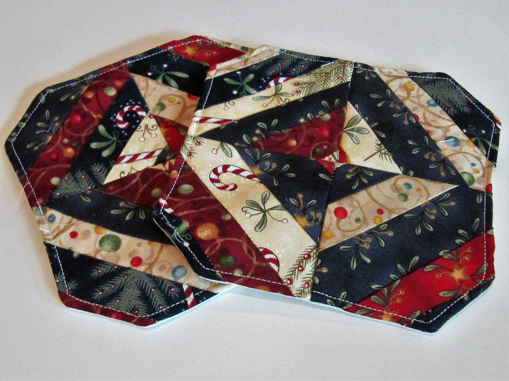 Christmas strings - were going to be potholders but turned into mug rugs or candle mats!