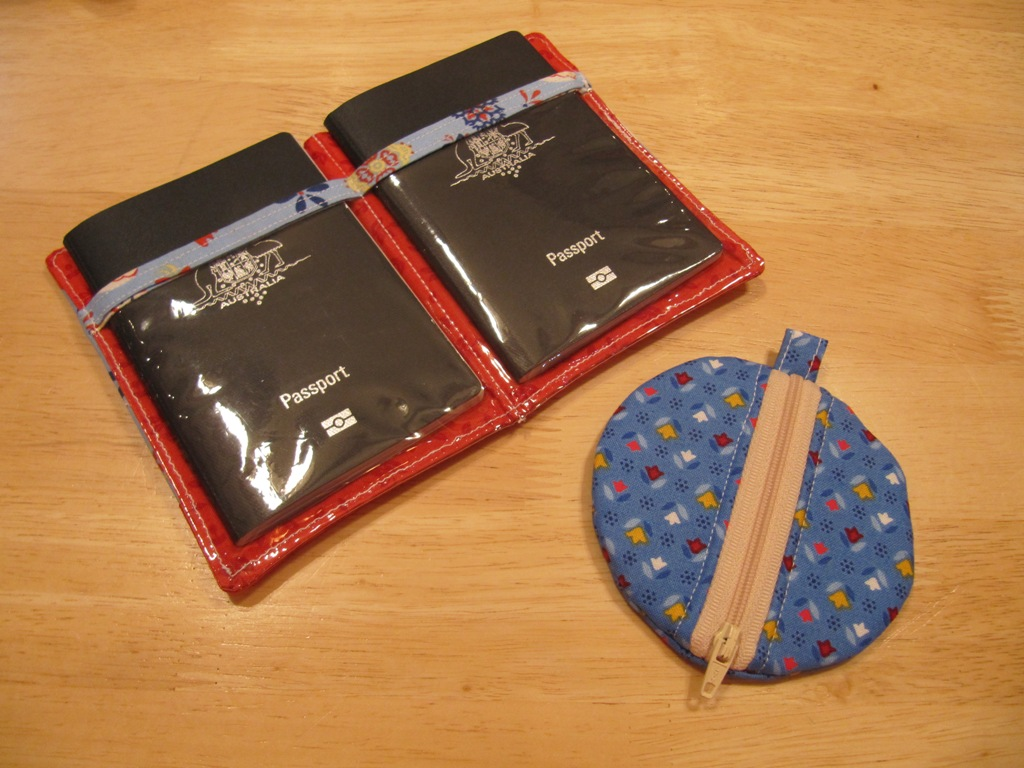 circle earbud pouches and passport holder