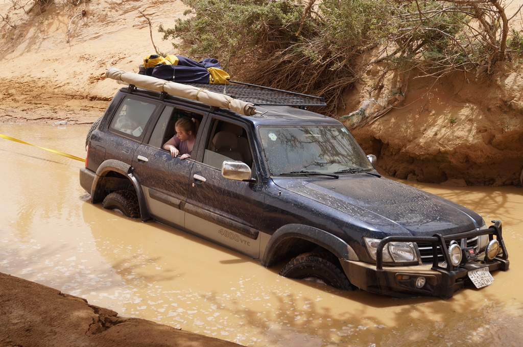 Car stuck in Wadi in the Desert