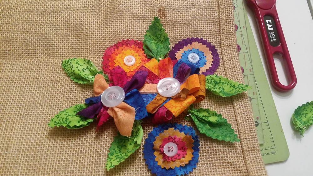 Albert Hein tas met leuke bloemetjes gemaakt uit restjes stof