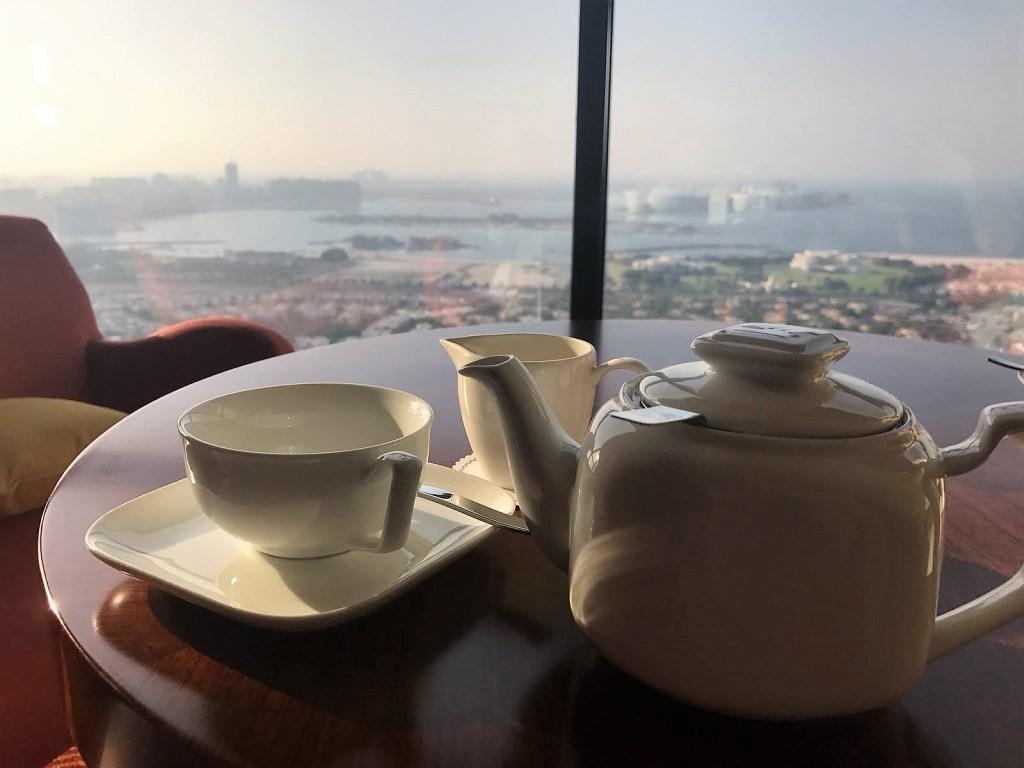 drinking tea at the Gloria in Dubai