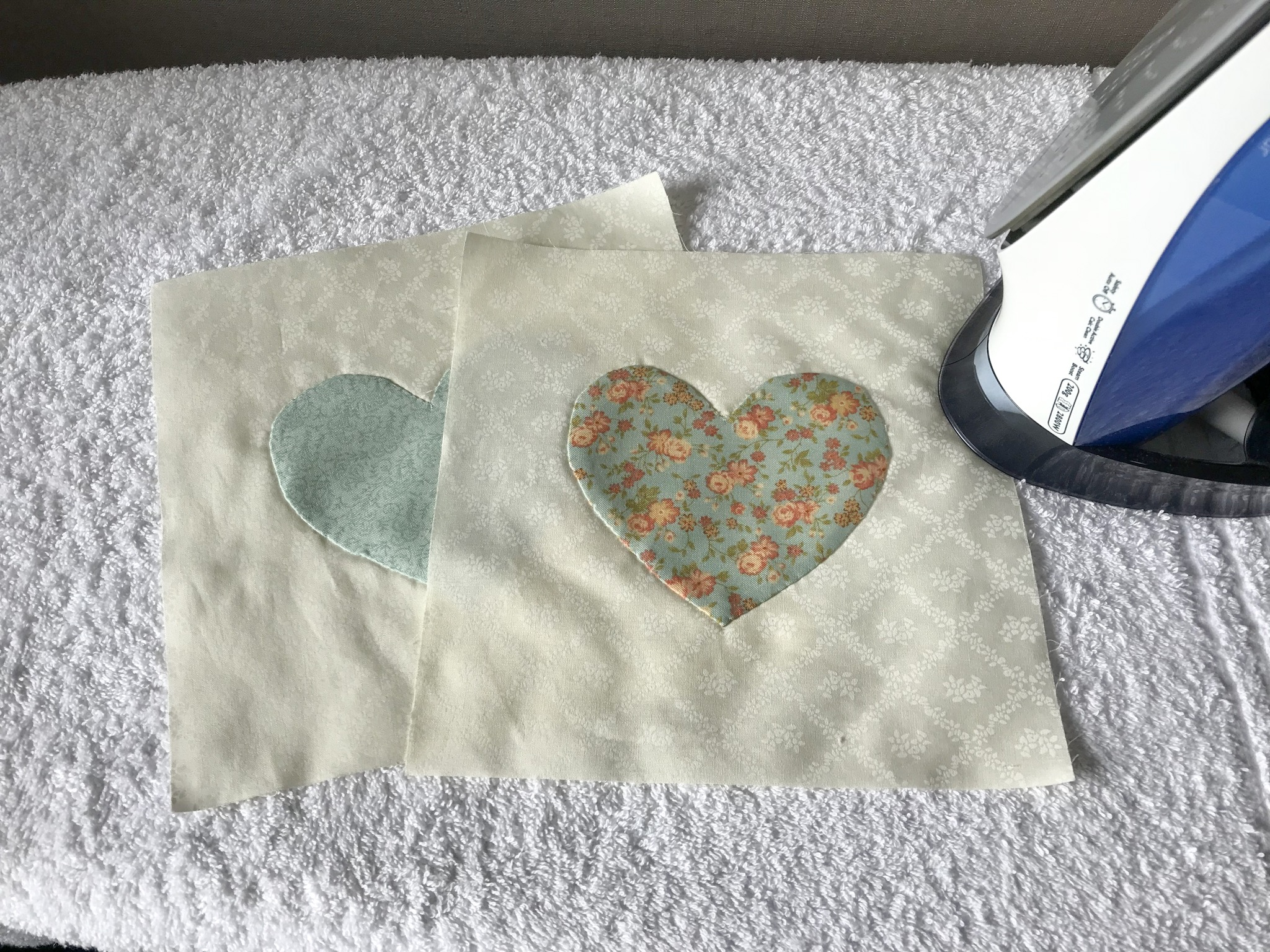 Heart applique memorial quilt