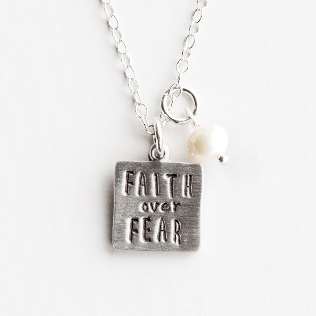 Faith Over Fear - Pewter Pendant Necklace