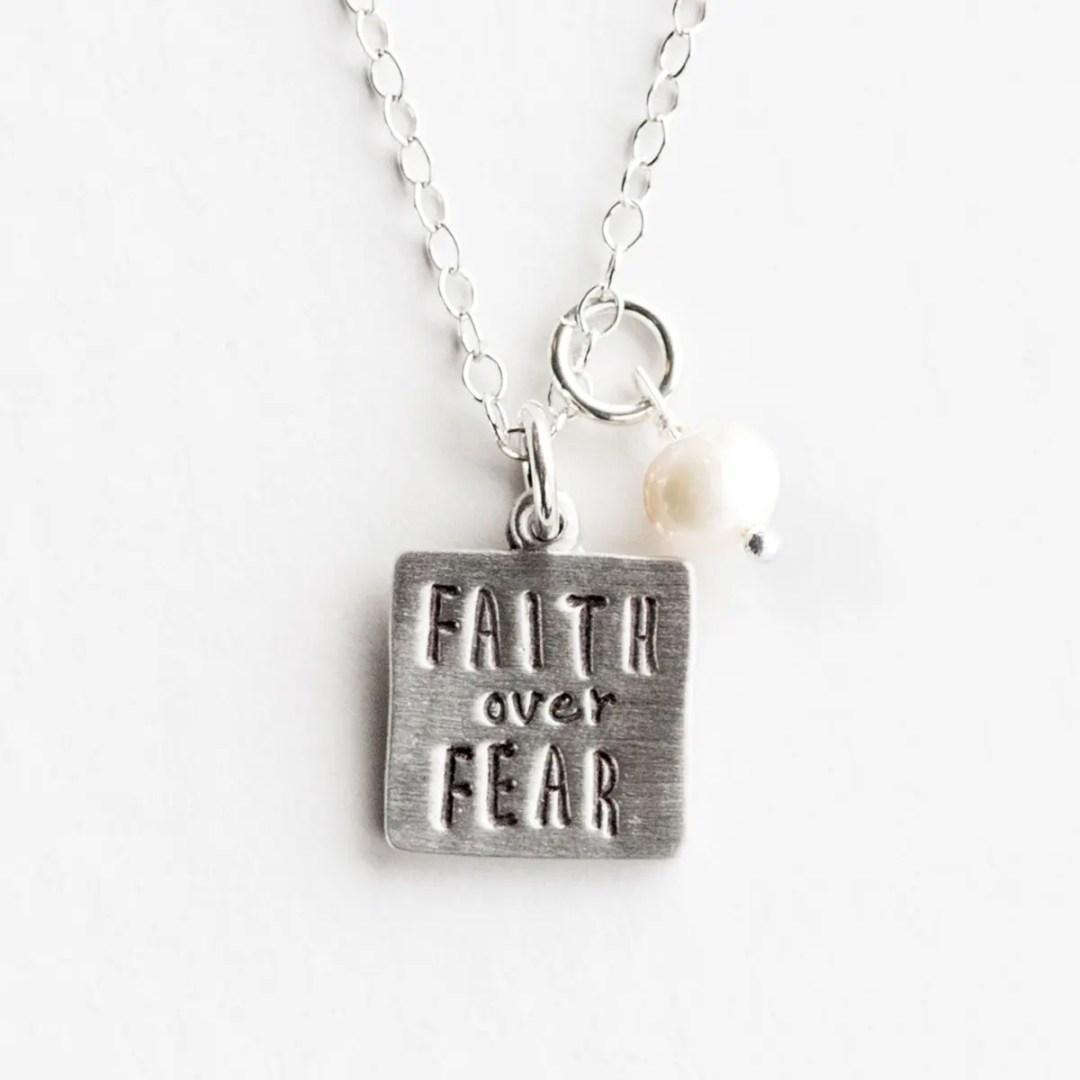 Faith Over Fear - Pewter Pendant Necklace