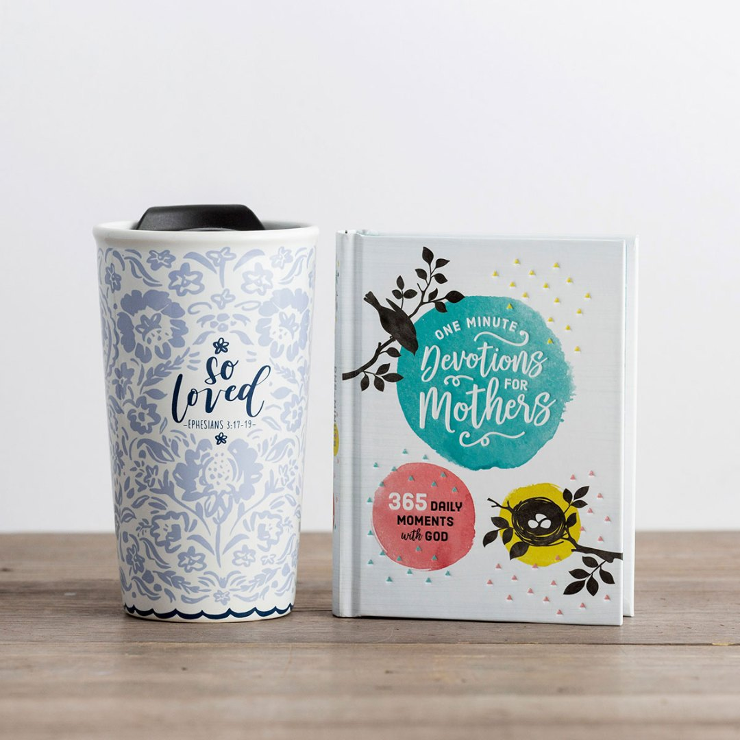 Loved Mom - Devotional & Ceramic Tumbler Gift Set