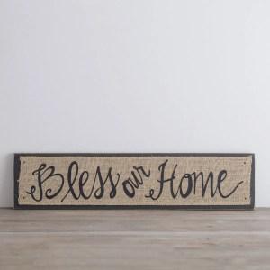 Bless Our Home - Wooden Burlap Plaque