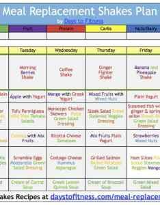 Calendar week meal plan for weight loss with replacement shakes by days to fitness also lose rh daystofitness